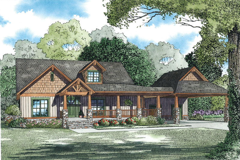 Arts and Crafts House Plan Front of Home 055S-0125
