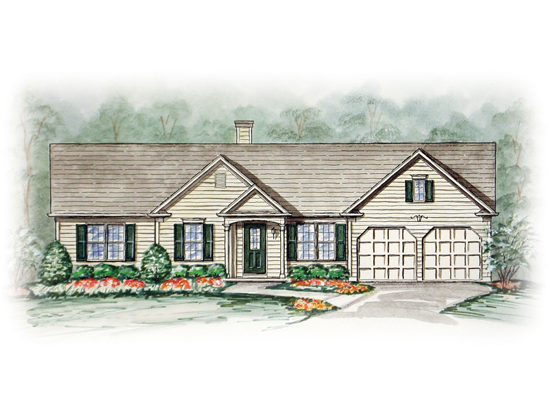 Flagstone Colonial Ranch Home Plan 056d 0013 House Plans