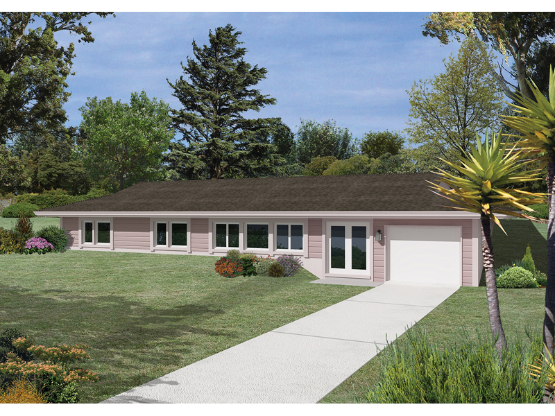 Berm Home Plan Front of Home 057D-0016