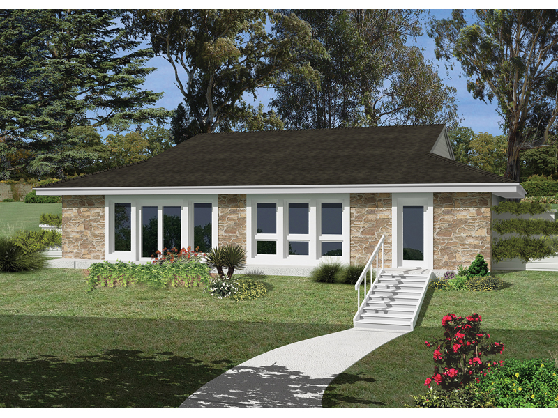 Berm Home Plan Front of Home 057D-0017