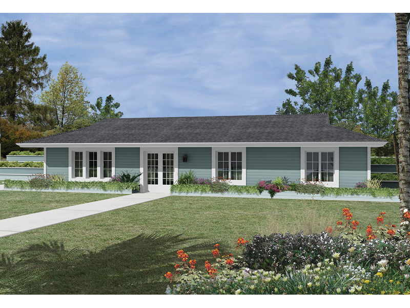 Ranch House Plan Front of Home 057D-0018