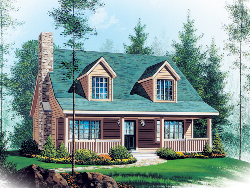 Vacation Home Plan Front of Home 058D-0006