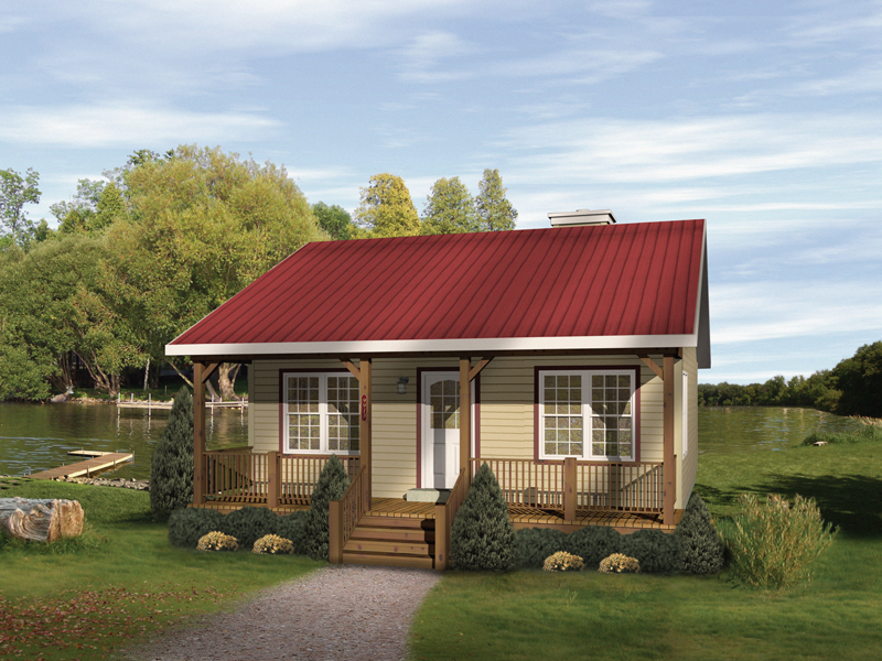 Cabin and Cottage Plan Front of Home 058D-0010
