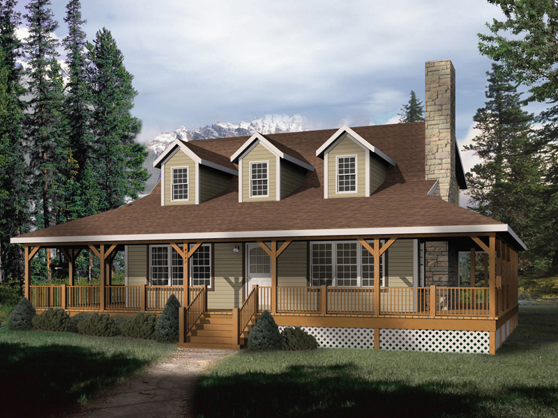 Mountain Home Plan Front of Home 058D-0032