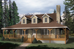 Farmhouse Home Plan Front of Home - 058D-0032 | House Plans and More