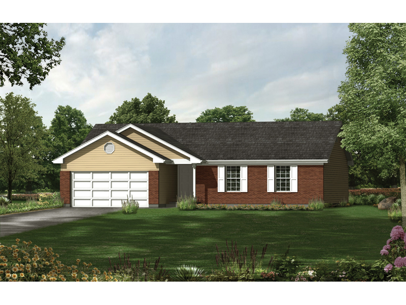Ranch House Plan Front of Home - 058D-0043 | House Plans and More