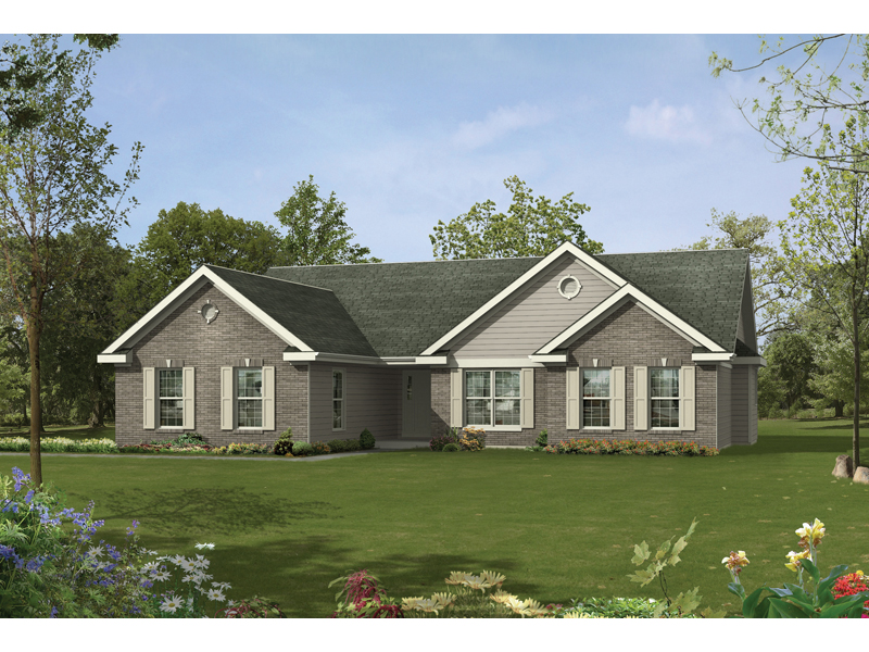 Ranch House Plan Front of Home 058D-0060