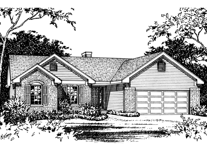 Ranch House Plan Front of Home - 058D-0103 | House Plans and More