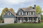 Country Two-Story House With Farmhouse Style