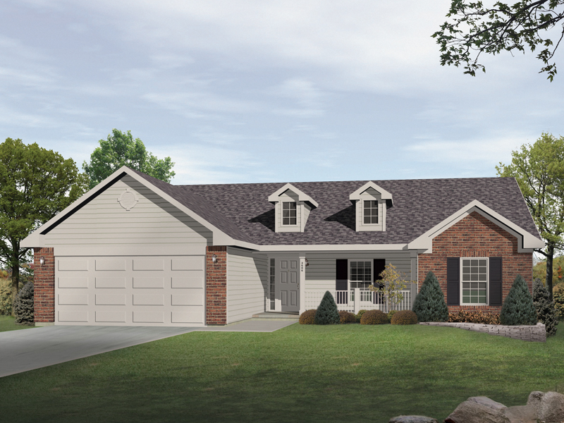 Cool Ranch Style House Additions. Twin Dormers Adorn Front of This House Spencer Ranch Home Plan 058D 0169  Plans and More