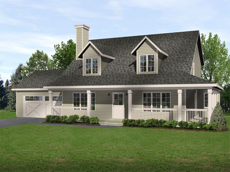 Farmhouse Plan Front of Home - 058D-0185 | House Plans and More