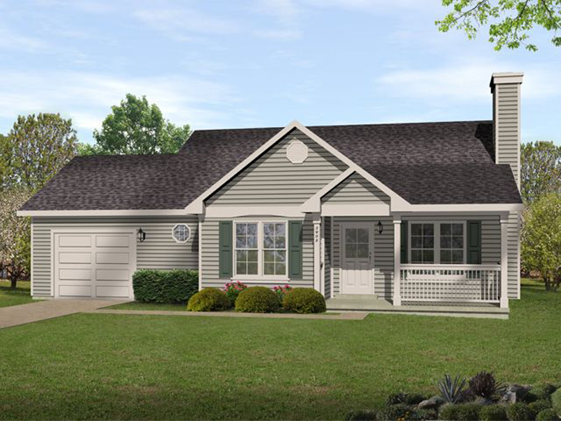 Ranch House Plan Front of Home - 058D-0187 | House Plans and More