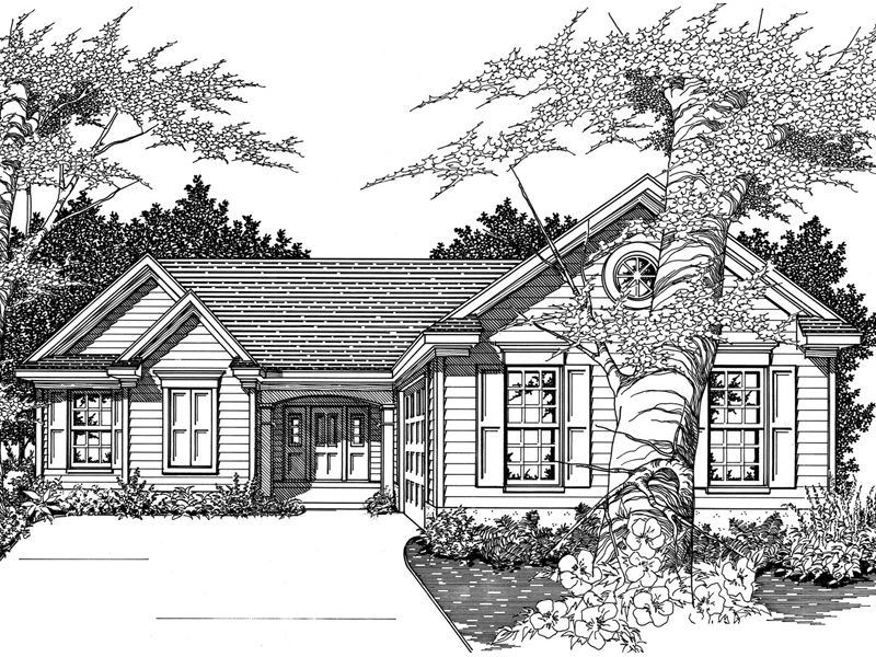 Greeson traditional ranch home plan 060d 0054 house for House plans with side entry garage