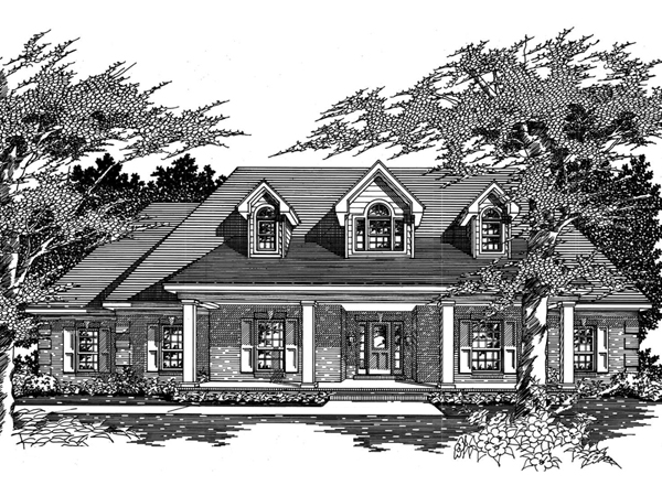 Franclar cape cod ranch home plan 060d 0080 house plans for Modified cape cod house plans