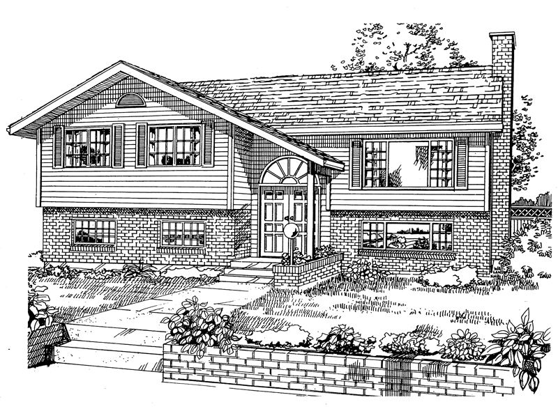 Split-Level House With Brick And Siding Combination On The Exterior