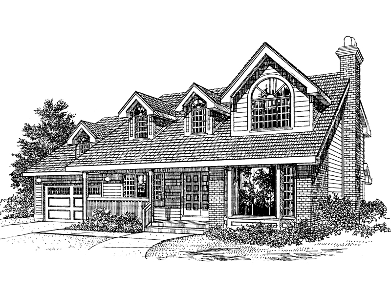 Country Style Two-Story Home With Large Dormer With Arched Window