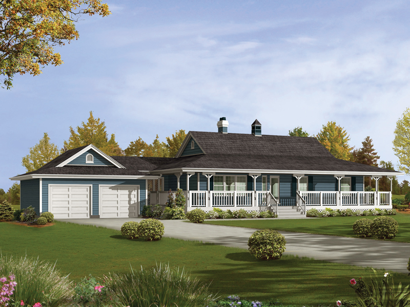 Caldean country ranch home plan 062d 0041 house plans for Ranch house floor plans with wrap around porch