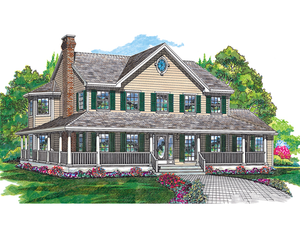 cornfeld traditional farmhouse plan 062d 0042 house plans and more - Farmhouse Plans