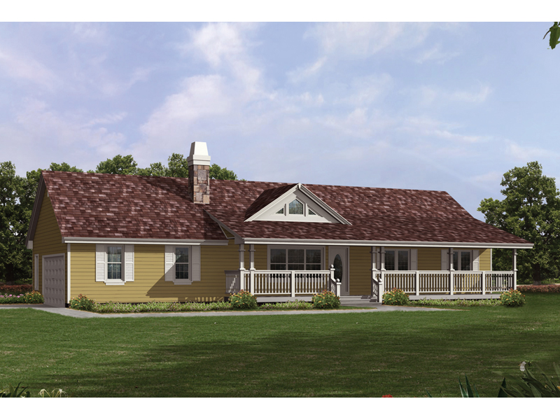 Country Ranch House With Covered Front Porch