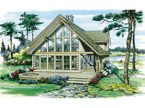 Oakleigh pass a frame cabin home plan 062d 0052 house for A frame house plans with basement