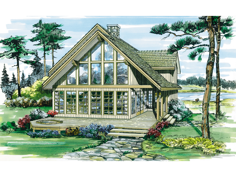 Lake House Plan Front of Home 062D-0052