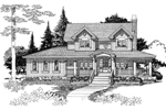 Country Farmhouse Style Two-Story With Grand Southern Porch