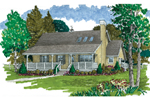 Covered Front Porch Compliments This Acadian Style Home