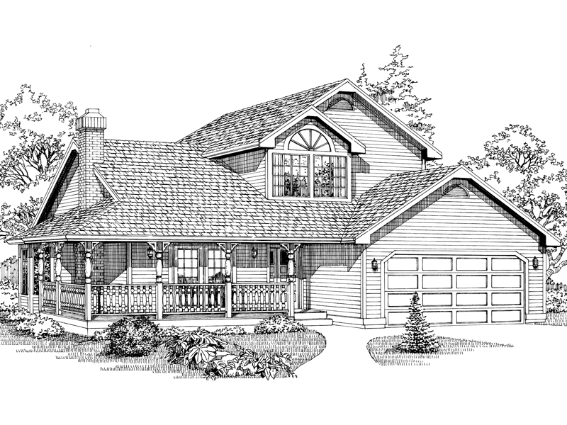 Cheerful Country Style Two-Story House