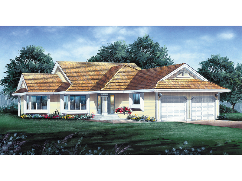 Traditional Ranch Style Home With Pleasing Bay Window