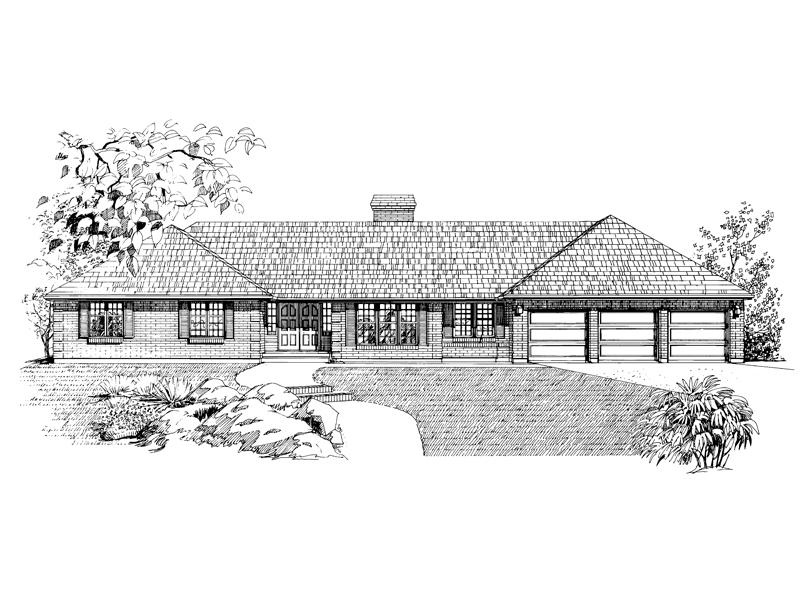 Country House Plan Front of Home - 062D-0217 | House Plans and More