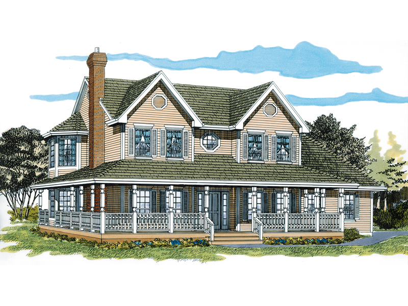 wrap around porch surround this farmhouse homes faade - Farmhouse Plans With Wrap Around Porch
