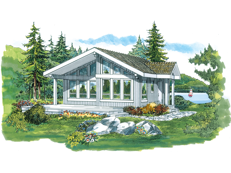 Lake como vacation cabin home plan 062d 0326 house plans for Lake cabin house plans