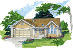 Ranch House Plan Front of Home - 062D-0357 | House Plans and More
