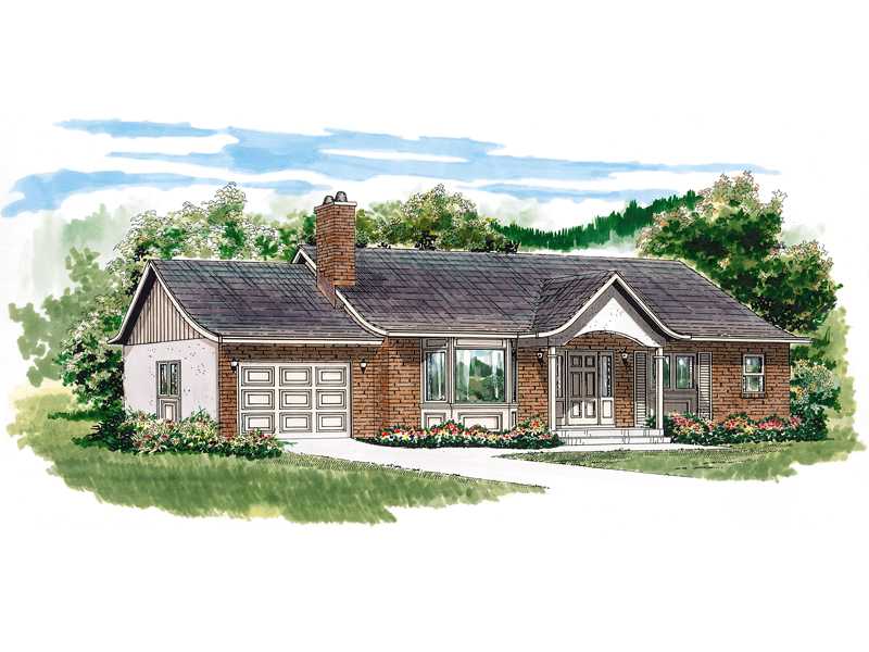 Bay Window And Columns Create Grand Curb Appeal