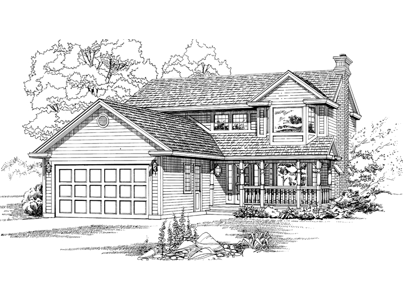 Farmhouse Plan Front of Home - 062D-0431 | House Plans and More