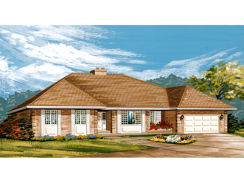 Ranch House Plan Front of Home - 062D-0434 | House Plans and More