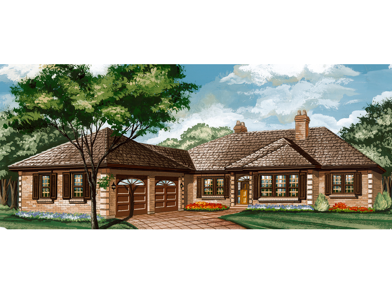 Ranch House Plan Front of Home - 062D-0444 | House Plans and More