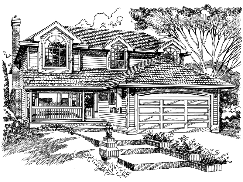 Traditional House Plan Front of Home - 062D-0445 | House Plans and More
