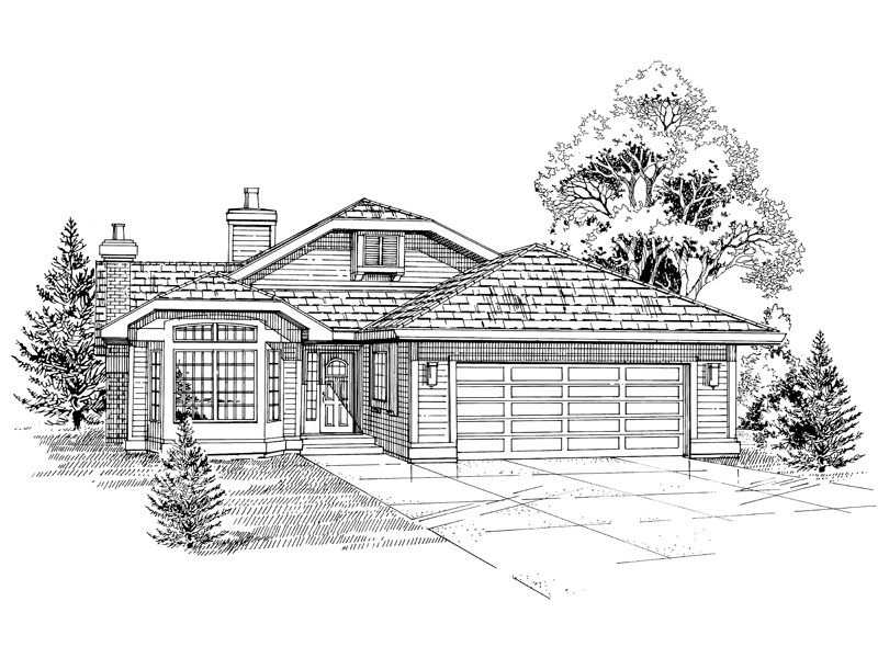 Ranch House Plan Front of Home - 062D-0455 | House Plans and More