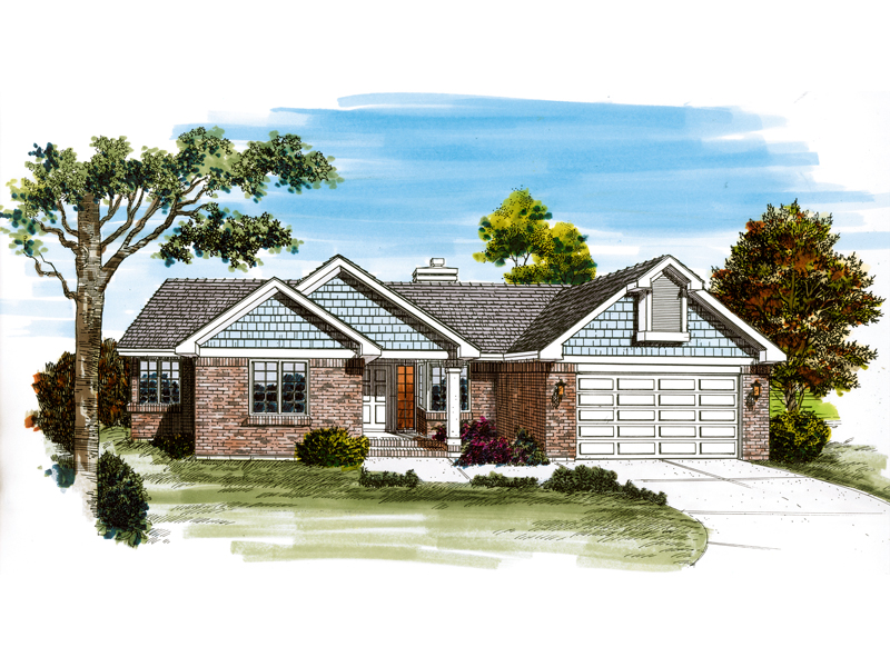 Ranch House Plan Front of Home - 062D-0456 | House Plans and More