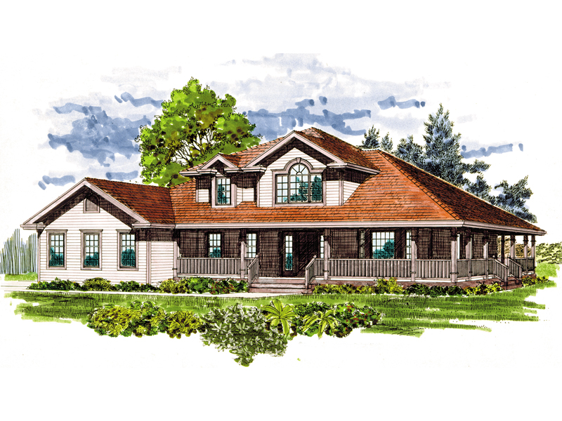 Farmhouse Home Plan Front of Home - 062D-0458 | House Plans and More