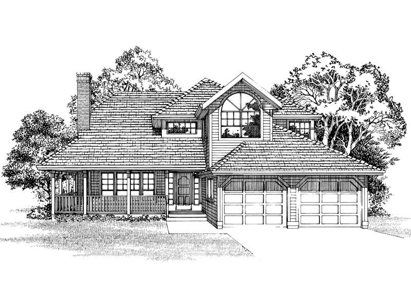 Country House Plan Front of Home - 062D-0461 | House Plans and More