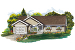 Ranch House Plan Front of Home - 062D-0468 | House Plans and More