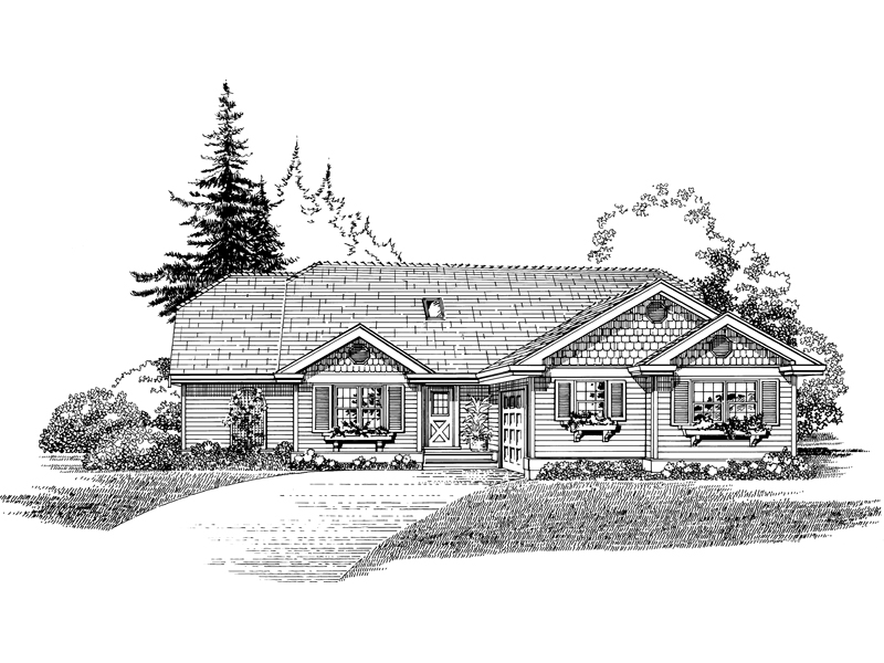 Ranch House Plan Front of Home - 062D-0469 | House Plans and More