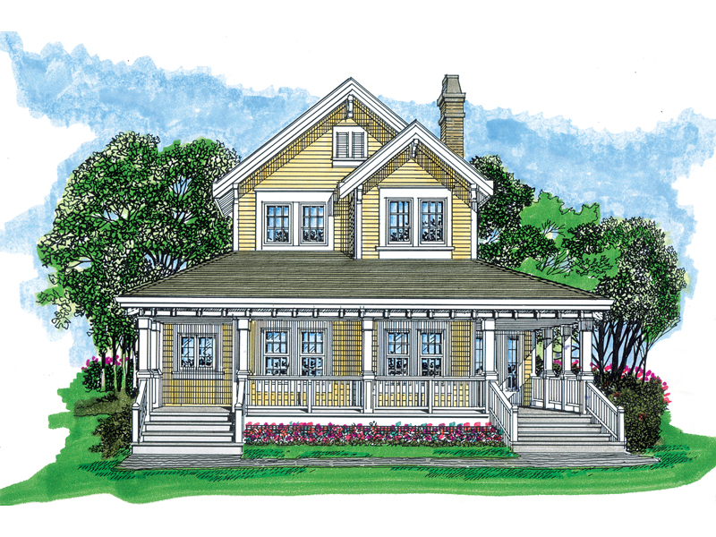 Farmhouse Plan Front of Home - 062D-0480 | House Plans and More