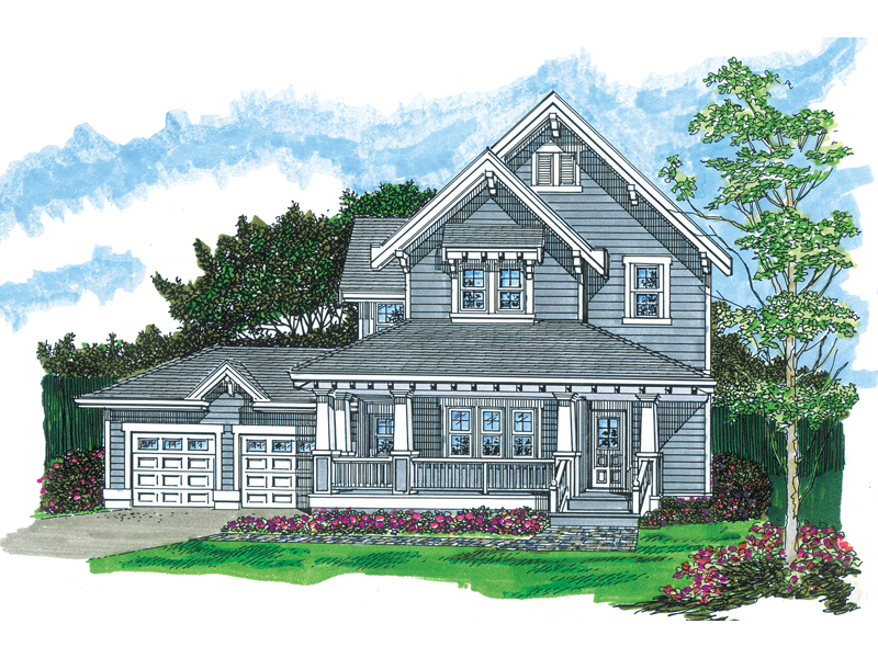 Farmhouse Plan Front of Home - 062D-0482 | House Plans and More