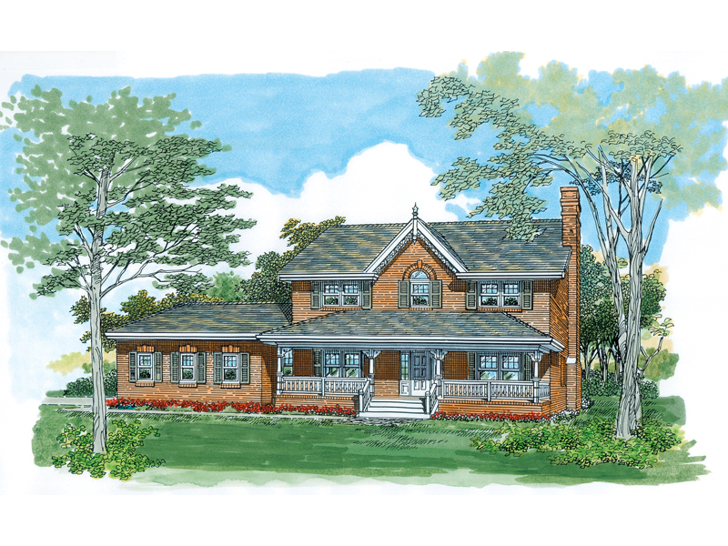 Farmhouse Home Plan Front of Home - 062D-0483 | House Plans and More
