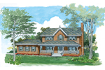Farmhouse Plan Front of Home - 062D-0483 | House Plans and More