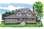 Farmhouse Plan Front of Home - 062D-0484 | House Plans and More