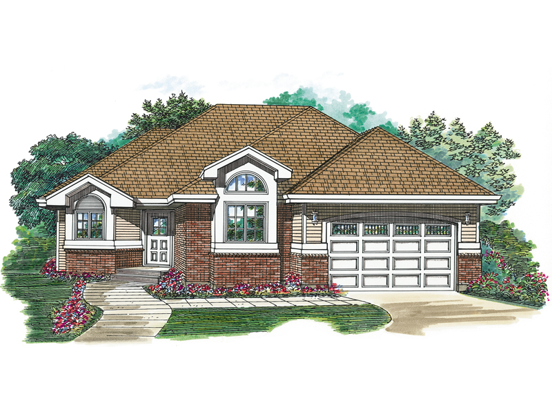 Ranch House Plan Front of Home - 062D-0491 | House Plans and More